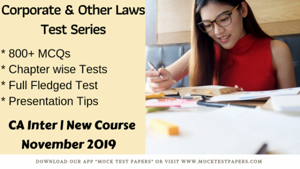 Corporate & Other Laws Test Series for November 2019 cover